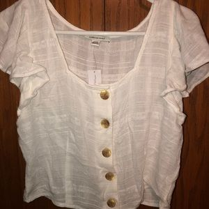 American Eagle white flowy button-up top
